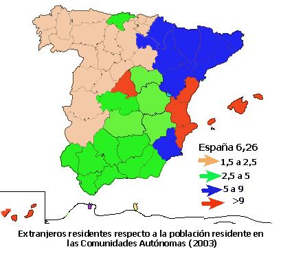 En qu regiones de Espaa hay ms inmigrantes